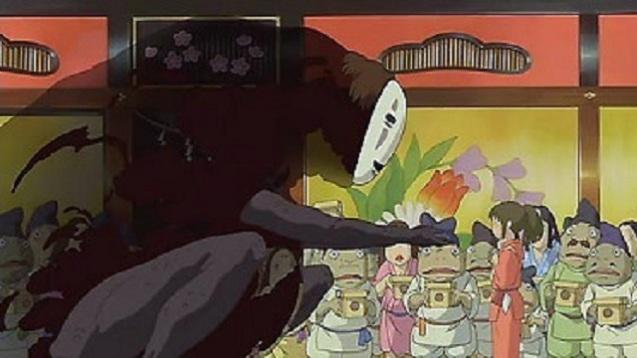 Das Ohngesicht begegnet Chihiro in Chihiros Reise ins Zauberland